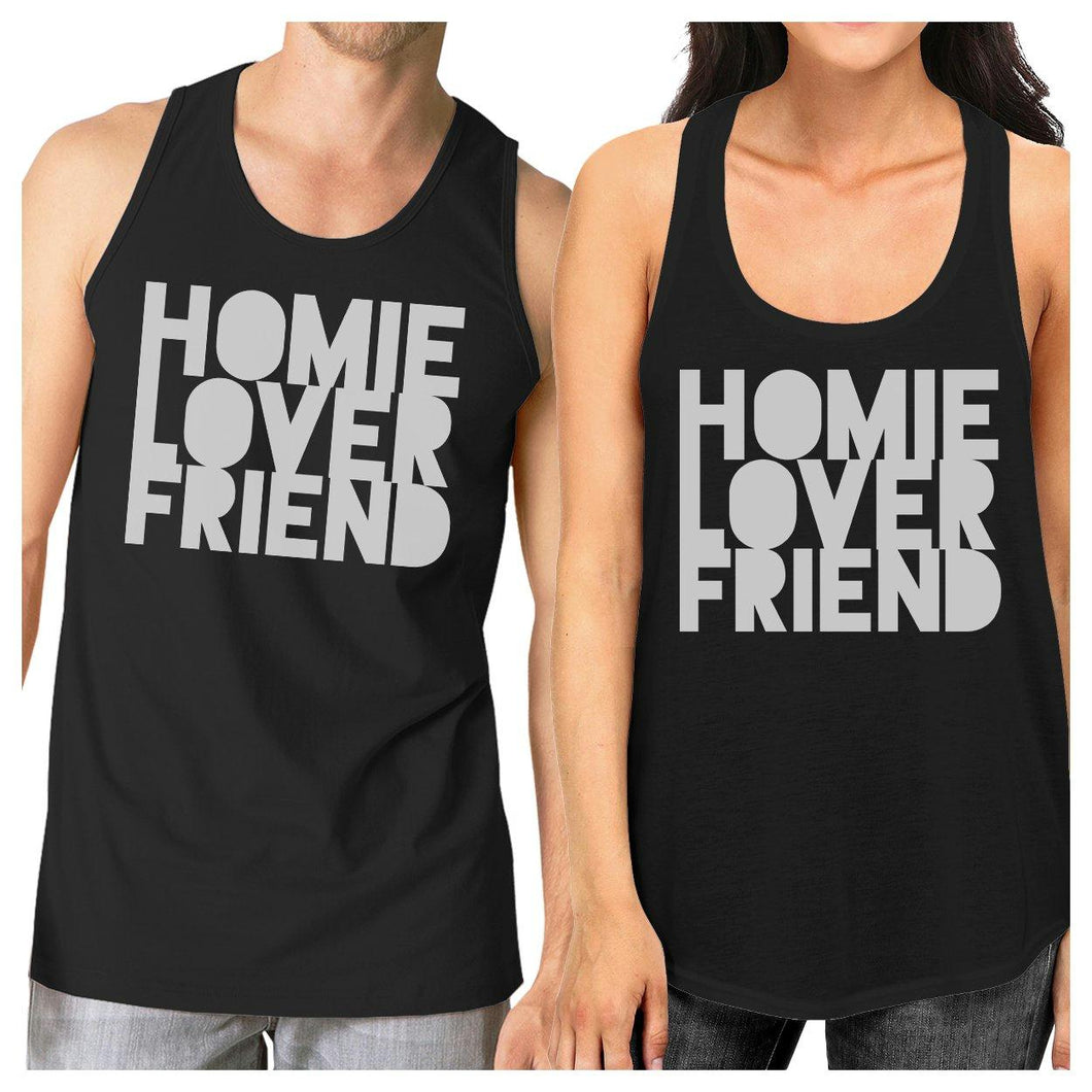Homie Lover Friend Matching Couple Black Tank Tops