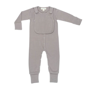 Smart Footed One-Piece + Bib - Gray - Scarlett + Michel