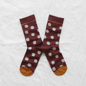 Burgendy Polka Socks