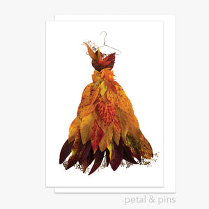 Autumn Leaf Dress Card