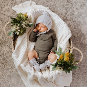 Grey Merino Wool Bonnet & Booties | Gift Set