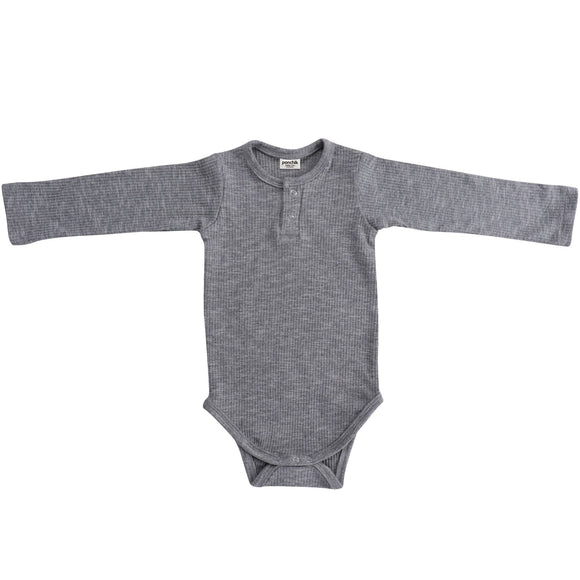 Cotton Ribbed Henley Bodysuit | Anchor Grey