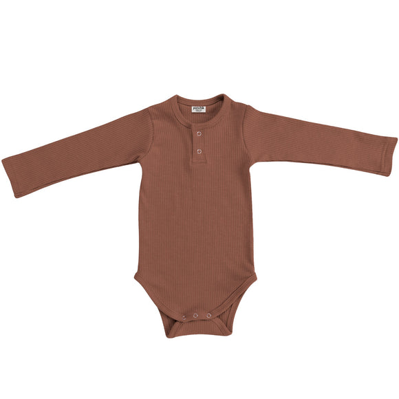 Cotton Ribbed Henley Bodysuit | Birch Bronze