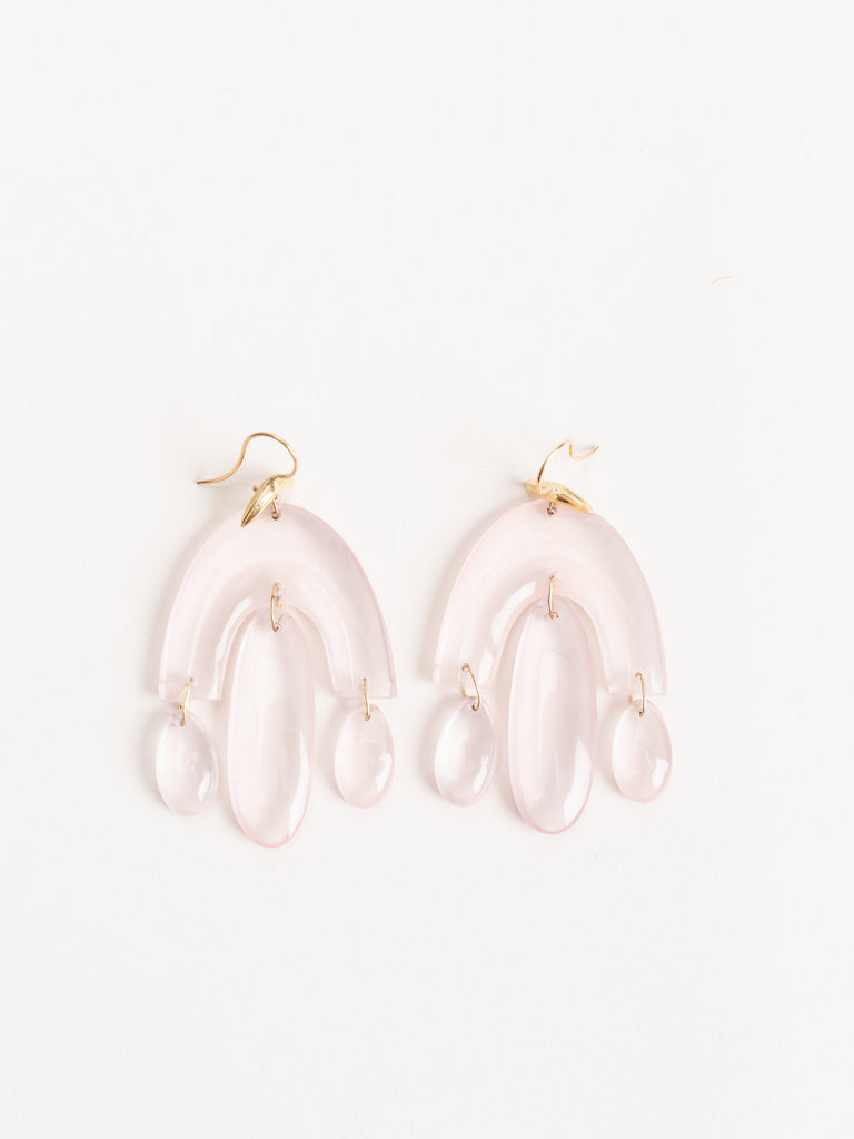 rose quartz mini chandelier earring