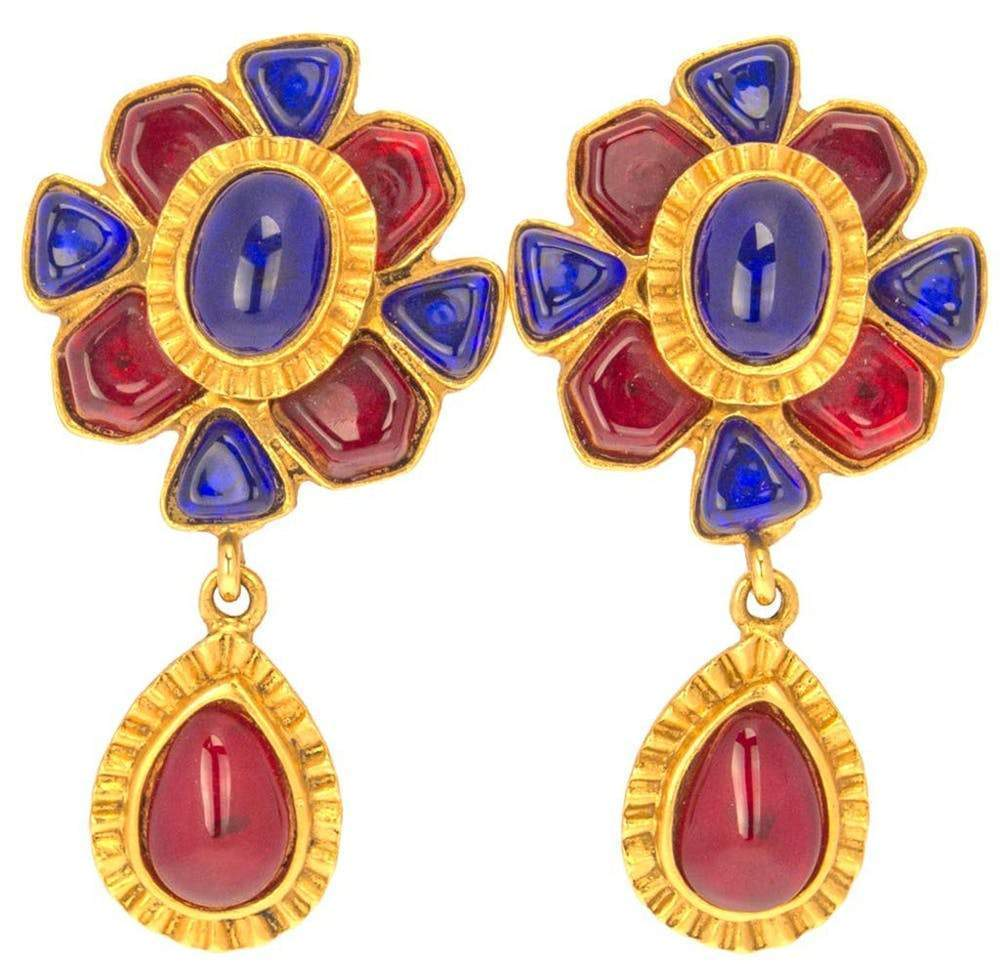 Chanel Ruby and Sapphire Drop Earrings Jewelry Chanel