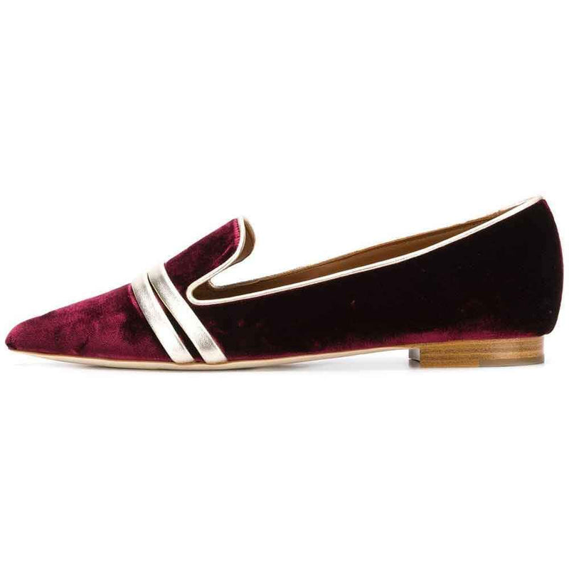Malone Souliers Maureen Silver Satin and Gold Leather Flat Mules