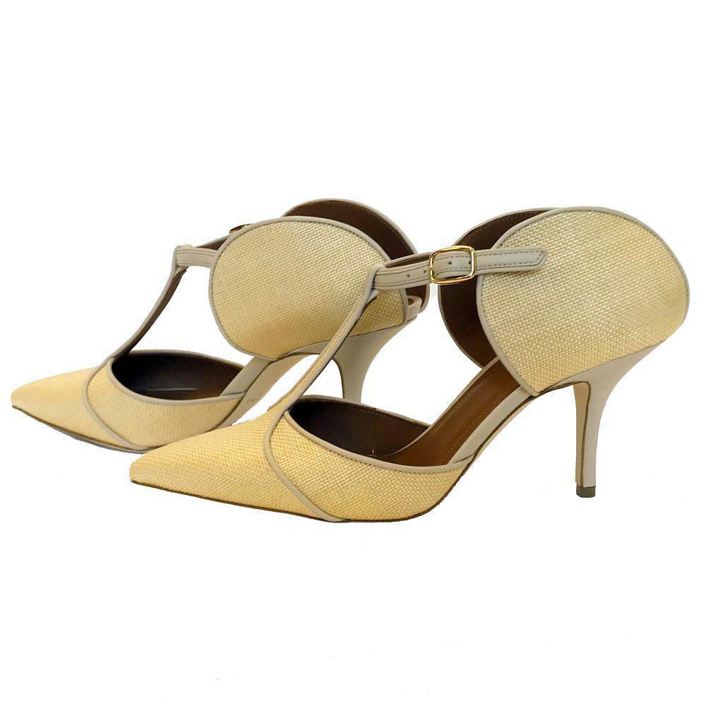 Malone Souliers Imogen Leather-Trimmed Raffia Pumps Shoes Malone Souliers