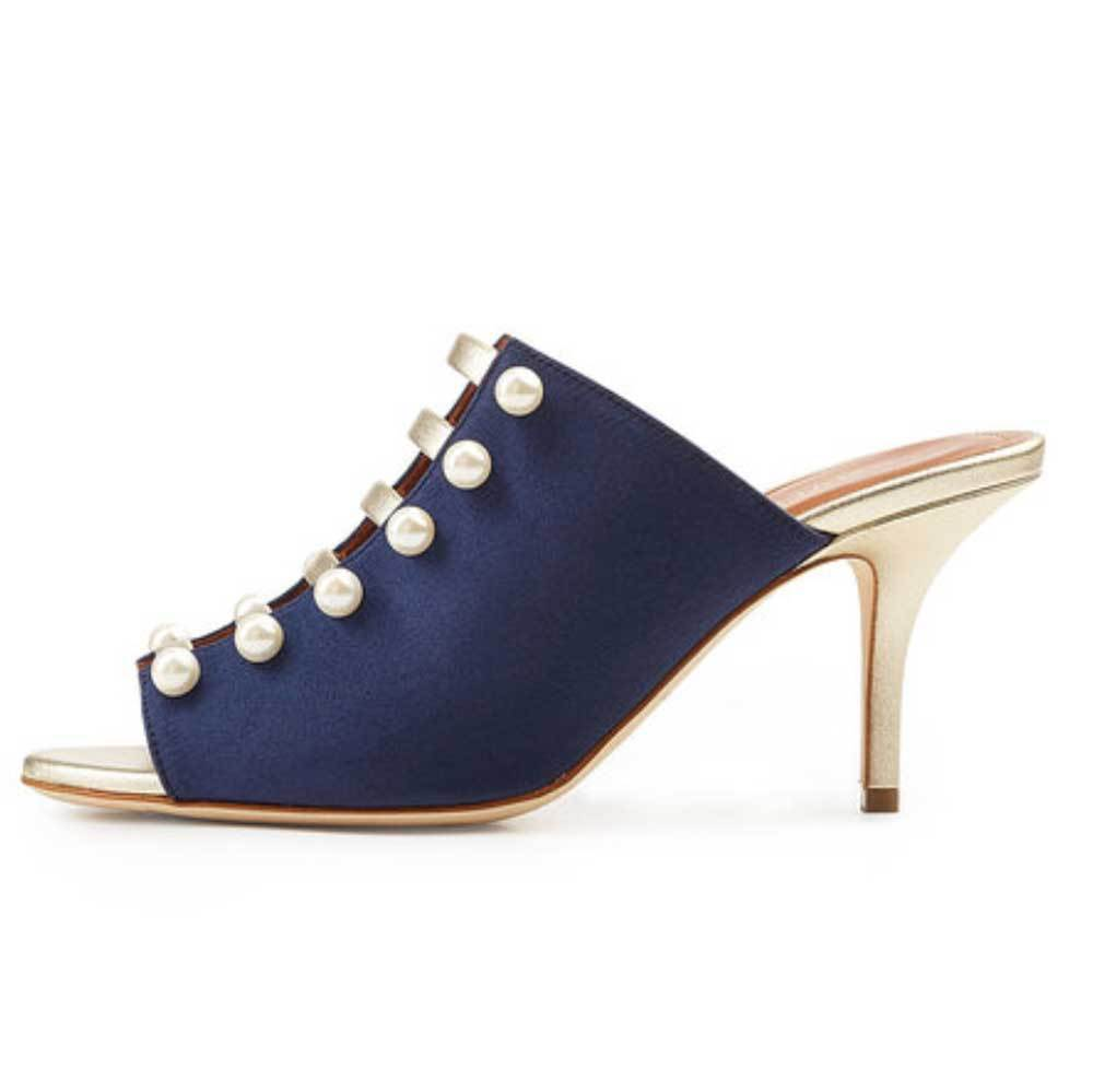 Malone Souliers Zada Navy Mule with Faux Pearls Shoes Malone Souliers