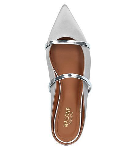 Malone Souliers Maureen Silver Satin and Gold Leather Flat Mules Shoes Malone Souliers