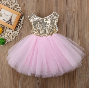 Sequined Top Pink Tutu Tulle Dress
