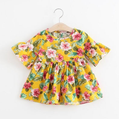 Cute Yellow Cotton Floral Dress