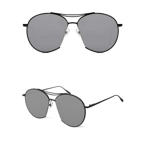 aviator style sunglasses with light grey lenses and black frame