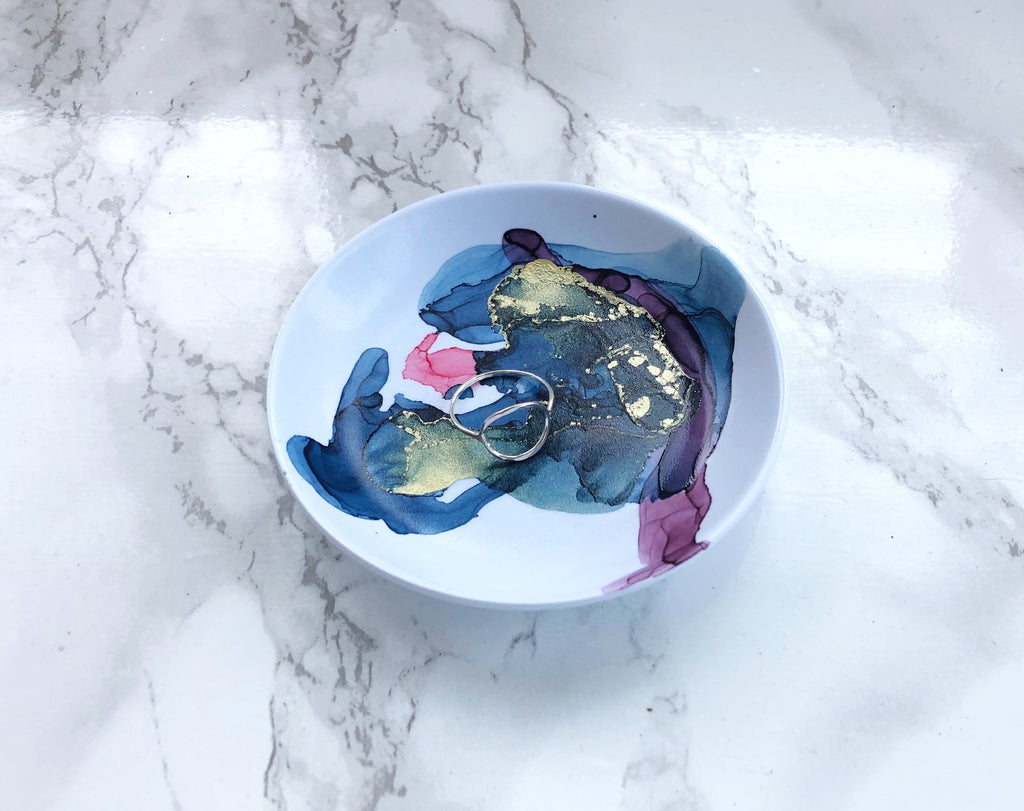 Blue Watercolor Melamine Ring Dish