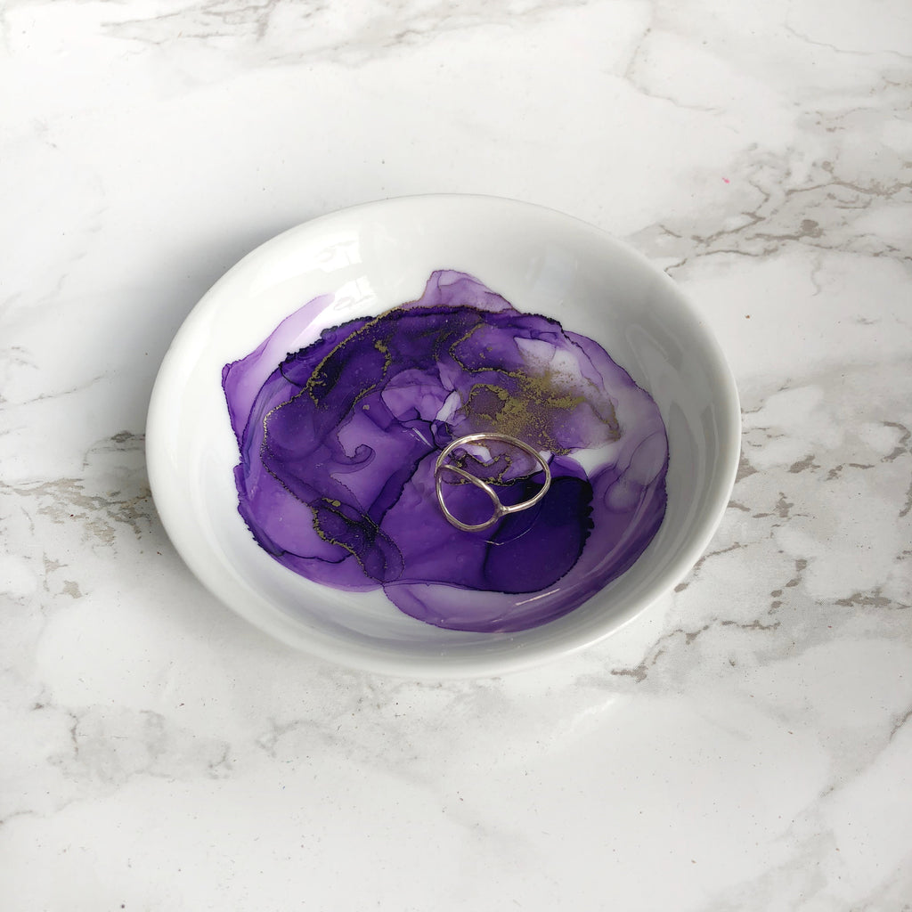 Purple Watercolor Porcelain Ring Dish