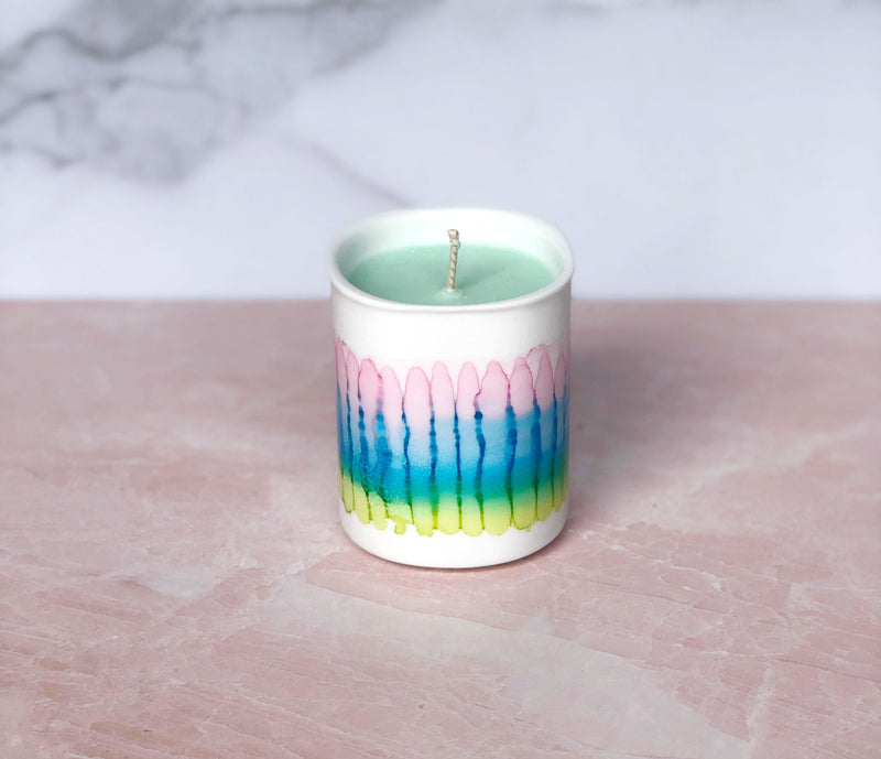 Soy Candle with Handpainted Ceramic