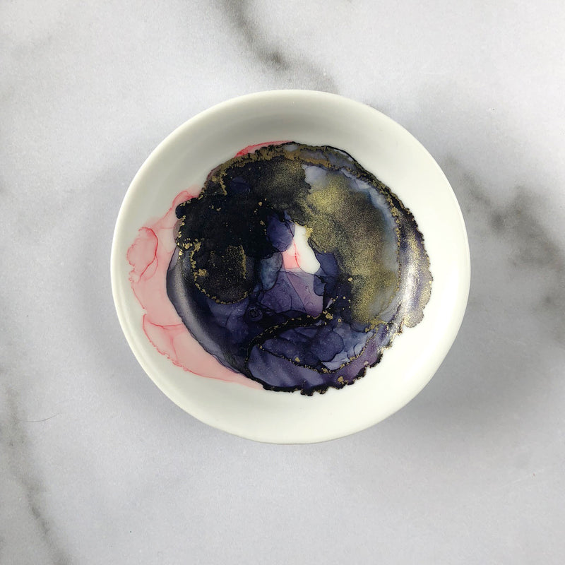 Navy and Blush Ceramic Marbled Ring Dish