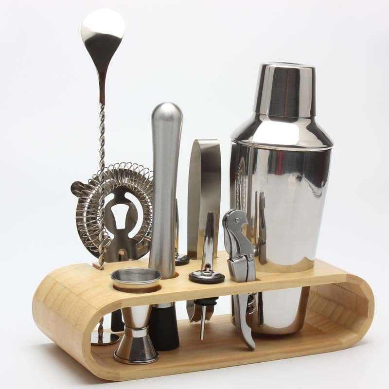 10-Piece Bar Tool Set with Stylish Bamboo Stand