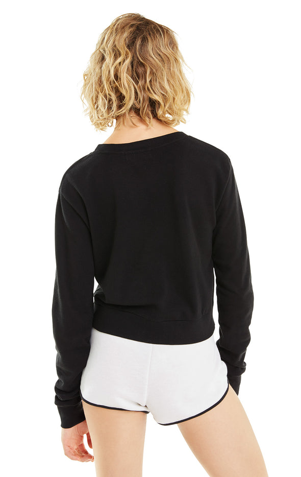 Wine In My Cup Zoey Crop | Clean Black