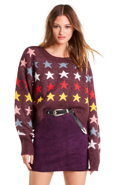 Rainbow Stars Elektra Sweater | Crushed Berry