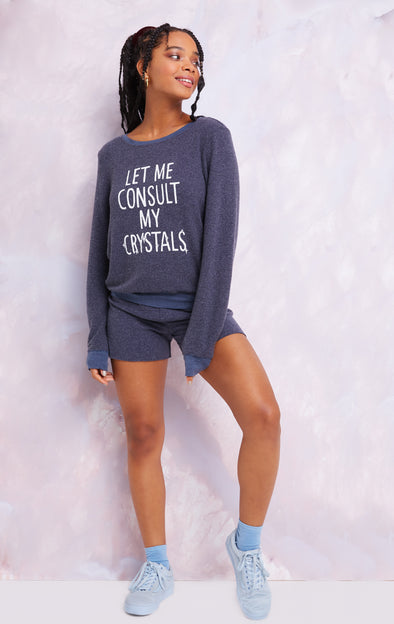 Consult My Crystals Baggy Beach Jumper, Sweatshirt, Oxford, Wildfox
