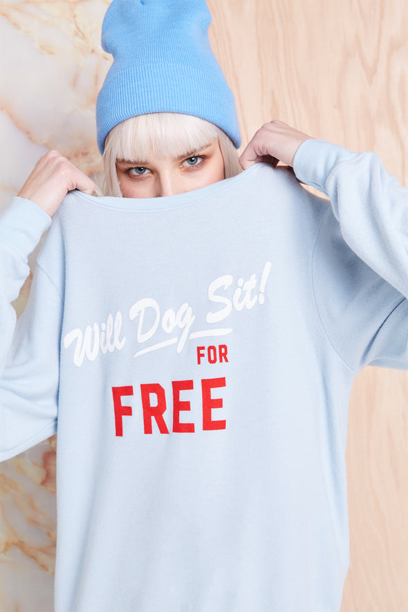 Dog Sit Baggy Beach Jumper, Sweatshirt, Sweater, Powder, Wildfox