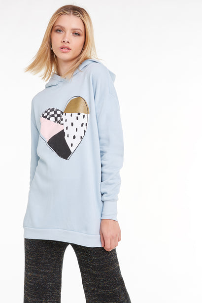 Patchwork Heart Rebel Hoodie, Sweatshirt, Hoodie, Sweater, Powder, Wildfox