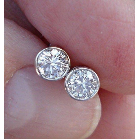 Image of 1/2 Carat Diamond Bezel Earrings - Si G/h 14K White Rose Or Yellow Gold By Luxinelle - Earrings