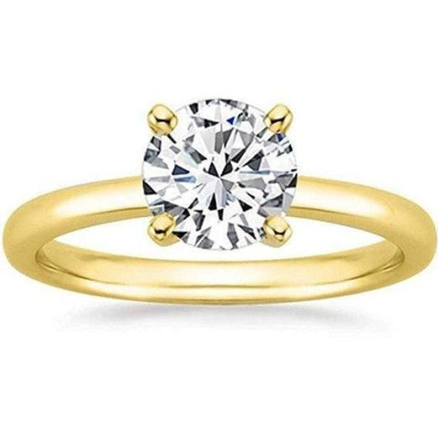 1/2 Carat Gia Certified Diamond Engagement Ring 0.44 Ct Vs2 I 4 Prong 14K Yellow Gold By Luxinelle® Jewelry - Ring