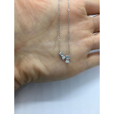 16 Diamond Bow Necklace - 14K White Yellow Or Rose Gold 0.12 Ct By Luxinelle® Jewelry - Necklace