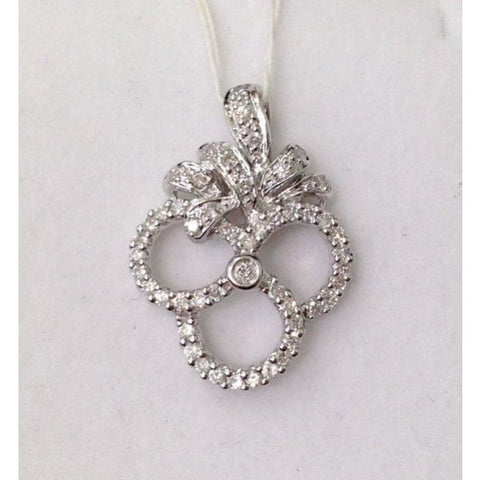 Image of Luxinelle 0.48 Carat Diamond Pendant - 14K White Gold Pave Diamond Necklace - Necklace