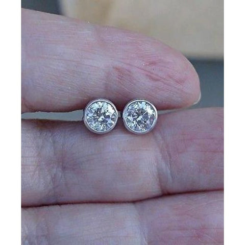 Image of Luxinelle 1 Carat Bezel Diamond White Gold Stud Earrings 14K Round Solitaire - Earrings
