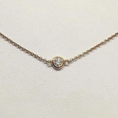 Luxinelle Bezel Single Diamond On 14K Gold Chain - Vs2 F - 14K White Yellow Or Rose Pink Gold - Necklace