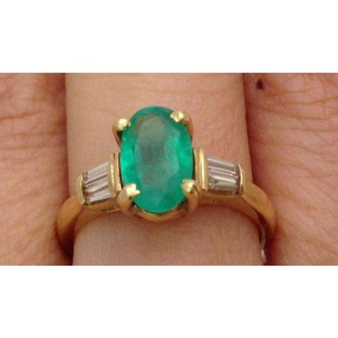 Luxinelle Oval Cut Natural Emerald Gold Ring With Baguette Diamonds Yellow Gold By Luxinelle® Jewelry - Ring