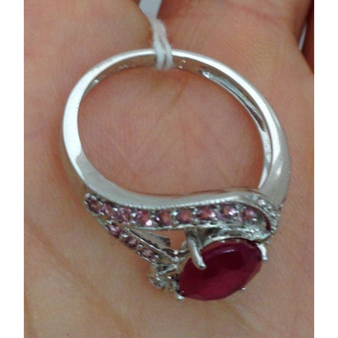 Luxinelle Oval Cut Ruby With Pink Topaz And Diamond Accents 14K White Gold By Luxinelle® Jewelry - Ring