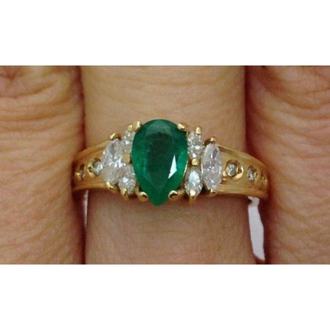 Luxinelle Pear Cut Natural Emerald With Marquise And Round Diamonds - 14K Yellow Gold By Luxinelle® Jewelry - Ring