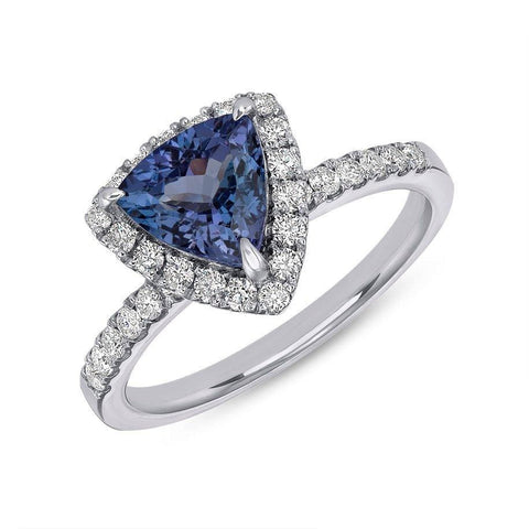 Image of Luxinelle Vivid Blue 1.46 Tanzanite Ring In Trillion Cut With Diamond Halo - 14K White Gold By Luxinelle® Jewelry - Ring