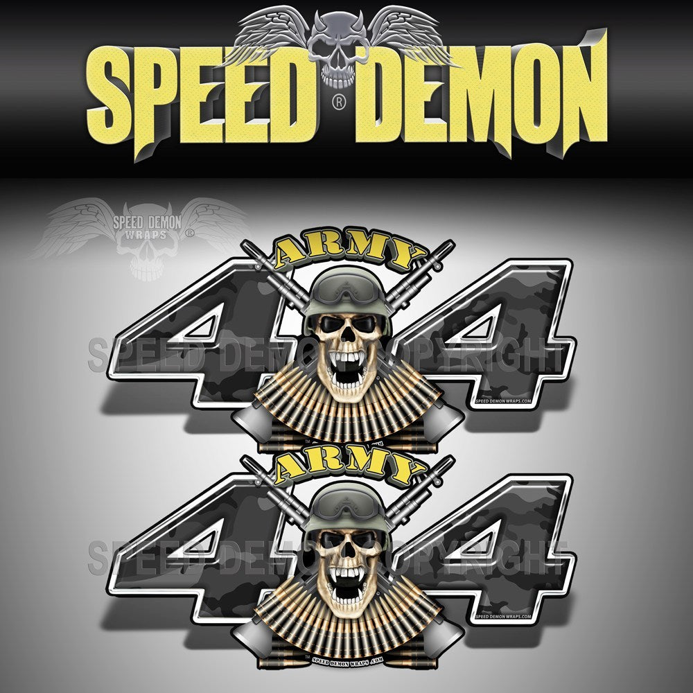 Army 4x4 Decal Skull Black Urban Camo - Speed Demon Wraps