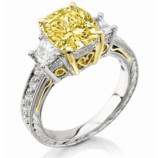 2.56 Ct. Canary Fancy Yellow Cushion Cut Diamond Engagement Ring (GIA Certified)