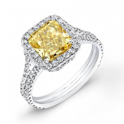 3.81 Ct. Radiant Cut Canary Fancy Yellow Halo Diamond Engagement Ring GIA SI1