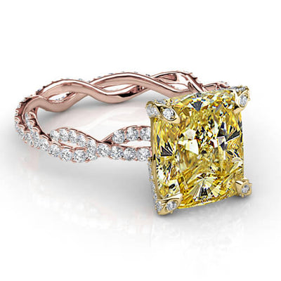 4.21 Ct. Canary Cushion Cut Diamond Eternity Twist Shank Engagement Ring SI2 GIA