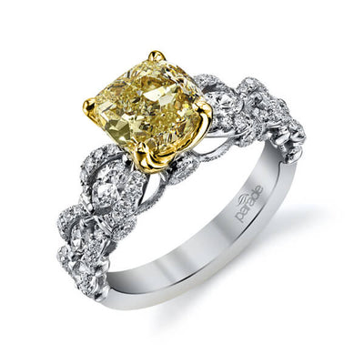 2.09 Ct. Canary Fancy Light Yellow Cushion Cut Diamond Engagement Ring VS1 GIA