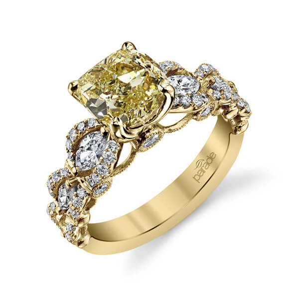 3.85 Ct. Canary Fancy Intense Yellow Cushion Cut Diamond Engagement Ring SI2 GIA