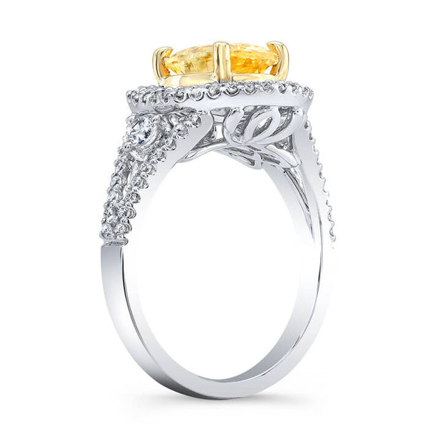 2.20 Ct. Canary Oval Cut Dual Halo Diamond Ring SI1,FY GIA