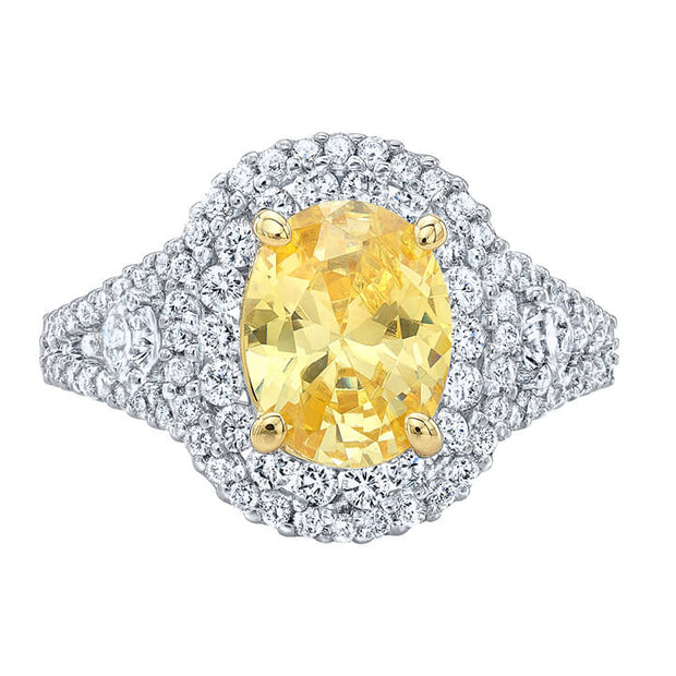 2.61 Ct. Canary Oval Cut Dual Halo Diamond Ring VS1,FY GIA
