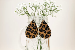Leopard Shimmer Teardrop Earrings
