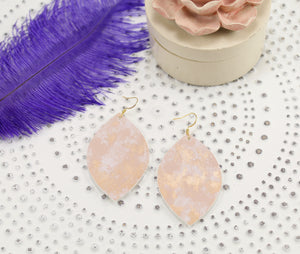 Rose Gold Marbled Oval Leaf Earrings