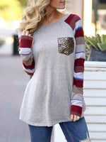 Sequin Pocket Splice Long Sleeve T-shirts