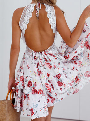 Strap Print Low-neck Backless Dress