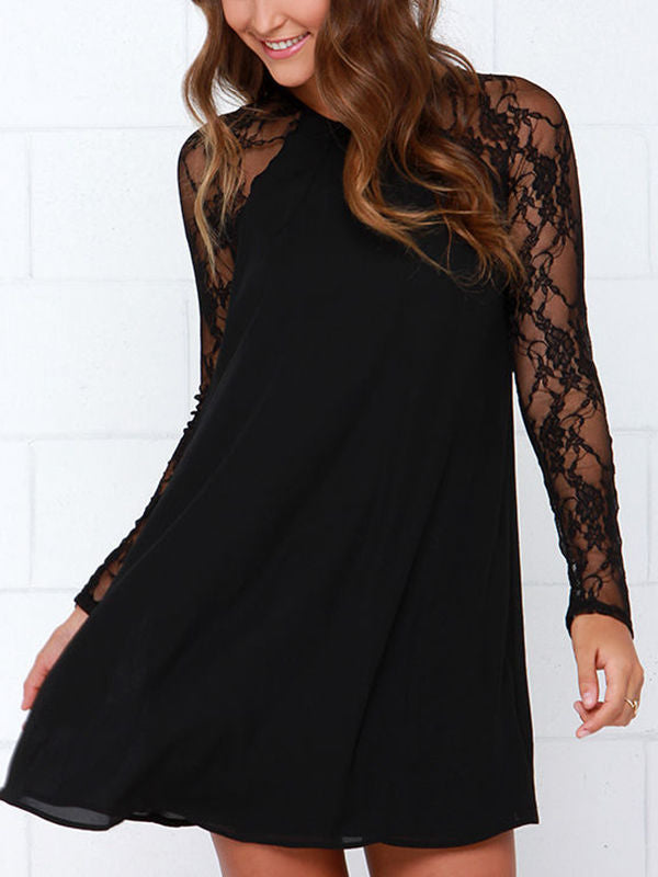 Lace In Point Black Lace Shift Dress