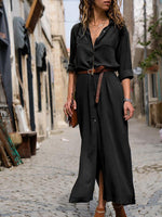 Autumn Solid Long Dress With Button